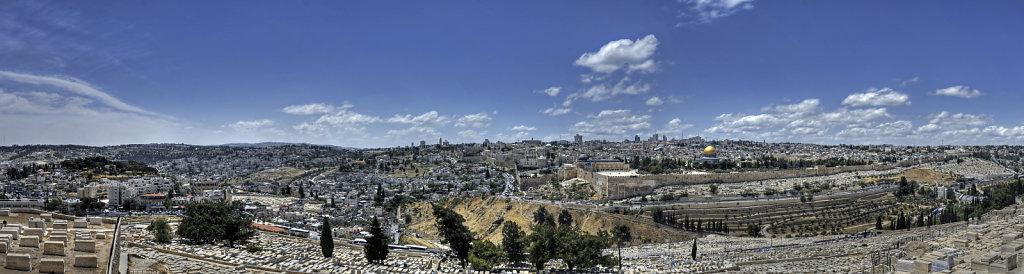 israel – jerusalem - blick vom ölberg auf jerusalem - teilpan