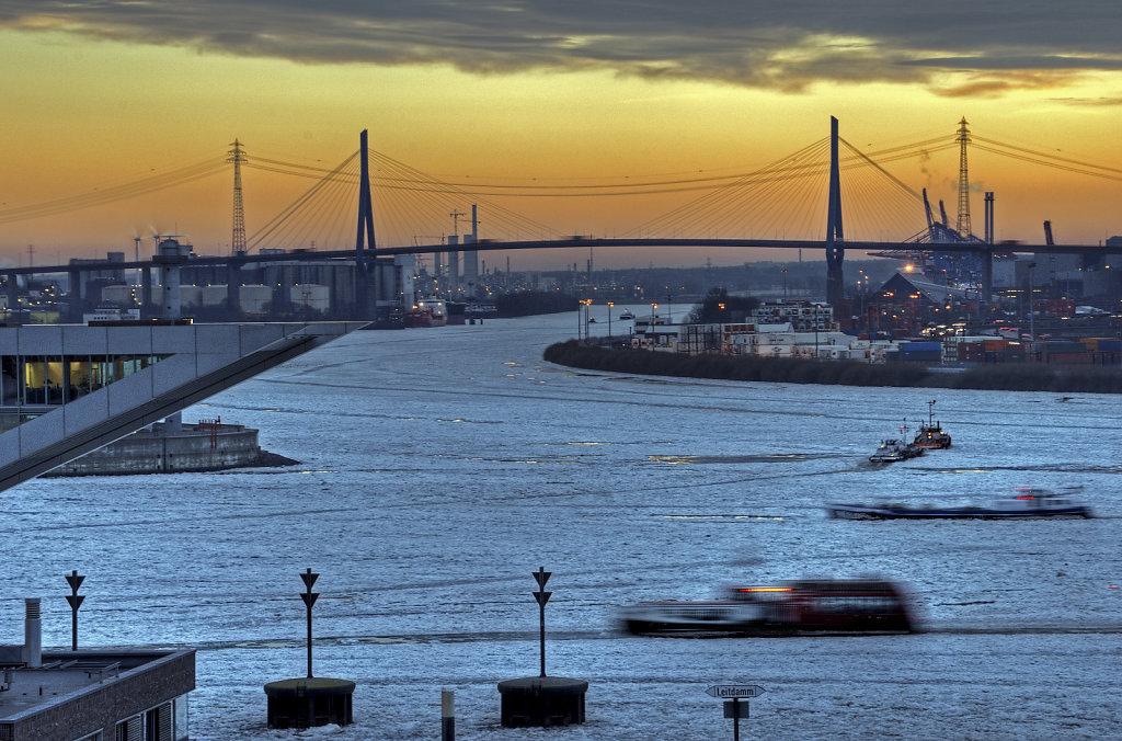 hamburg hafen - im winter teil 7 - köhlbrandbrücke
